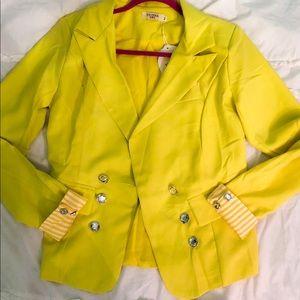 Jackets & Blazers - Yellow blazer with rhinestone buttons